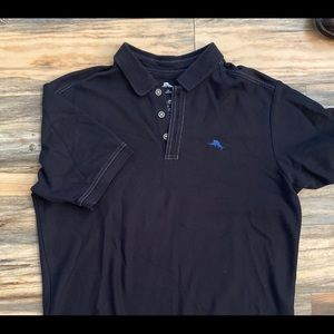 Sz M Tommy Bahama Supima cotton black polo shirt